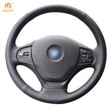 Soft Black Genuine Leather Steering Wheel Cover Wrap for BMW F30 316i 320i 328i