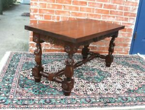 French Antique Carved Oak Brittany Coffee Table