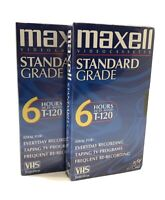 Maxwell VHS T-120 6 Hour Standard Grade VCR Blank Video Cassette Tape Sealed (2)