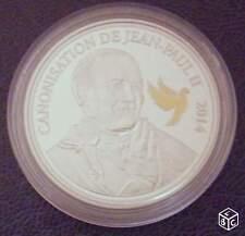 MEDAILLE COMMEMO POUR LA CANONISATION DU PAPE JEAN PAUL II EN 2014 COLORISE