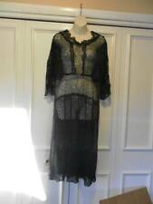VINTAGE/ANTIQUE FRENCH 1920'S BLACK CHANTILLLY LACE DRESS & GOLD METALWORK