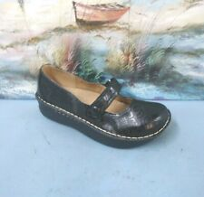 Croft Barrow Dixie Women Black Embossed Mary Jane Clog Shoe SIZE 7 M