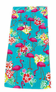 "Mainstays Cotton Flamingo Teal 28""x 60"" Beach Pool Towel"