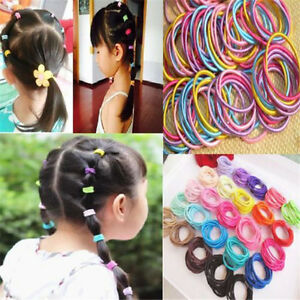 100PCS Lots Kids Girl Elastic Tiny Hair Tie Band Rope Ring Ponytail Holder