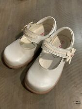 Baby Girl White Leather Mary Jane With Pink Flower Buckle Size 7 EUC