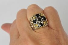 Konstantino Men's Onyx Cross Ring 11 Sterling Silver 18K Yellow Gold Orpheus