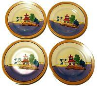 """4 Vintage Japan Pagoda Lusterware Dessert Plates 7 3/8"""""""