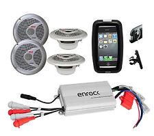 Pyle Bike ATV Outdoor Use 4 Round Speakers, 800W iPod MP3 Input Amplifier, Case