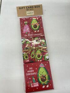 New! Clementine set of 3 gift card box for Chrisrmas avocado design