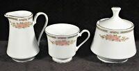 Crown Ming Fine China Jian Shiang - Creamer, Sugar Bowl & Teacup - Gold Trim