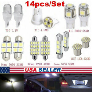 14Pcs/Set LED Interior Package Kit For T10 36mm Map Dome License Plate Lights Bs