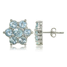 Sterling Silver Blue Topaz Flower Stud Earrings