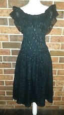 TEENA VARIGOS Vintage 80s Blck & Gold off the shoulder DRESS Size 8