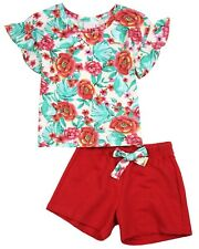 QUIMBY Girl's Floral Print Top and Fuchsia Shorts Set, Sizes 4-12