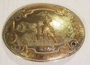 IRVINE & JACHENS GERMAN SILVER Cowboy Rodeo Pole Bending 1964 Belt Buckle Award