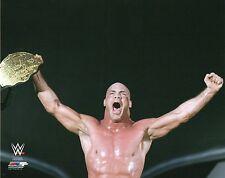 KURT ANGLE WWE PHOTO OFFICIAL 8x10 ACTION HOLDING UP BELT WRESTLING PROMO TNA
