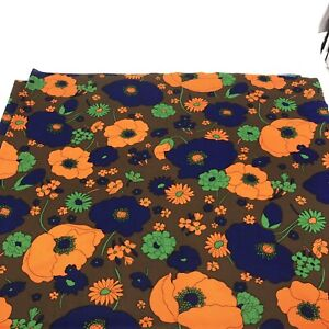 Vintage 1960's Brown Polyester Fabric Funky Retro Orange & Blue Floral 3 yards