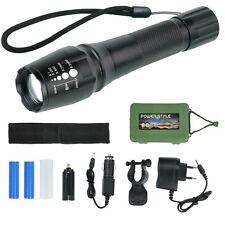 T6 Linterna LED con 2 Baterías 18650 Cargador Zoomable Ciclismo Camping ES STOCK