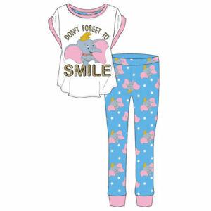WOMENS LADIES DISNEY DUMBO SMILE PYJAMAS SET Size 8-10,12-14,16-18 & 20-22