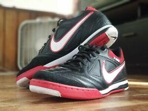 Nike Mens 11.5 Gato Lunarlon Indoor Soccer Shoes Black Lace Up Low Top