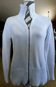 Small Winter White Pendleton Cardigan Sweater Zipper Womens 100% Cotton Classic