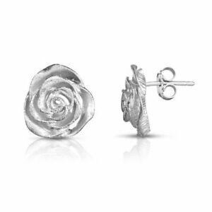 Sterling Silver Rose Earring Laser Diamond Cut Stardust Design 12mm Round Stud