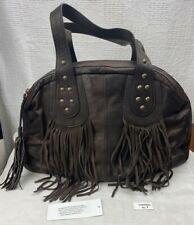 Sundance Fringe and Stud Chocolate Brown Womens Leather Satchel Bag New