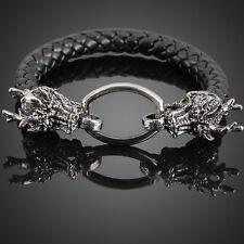 Fashion Dragon Ring Man Braid Bracelet Leather Band Bangle Black