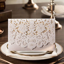100 Qty Laser Cut Wedding Invitations in Pearl White w Envelopes