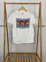 VTG 90s Hanes Twin City Track Club White Short Sleeve T-Shirt Size M USA
