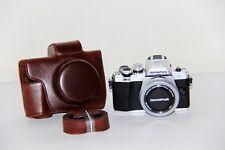 Coffee Leather Camera case bag Grip for Olympus EM10 Mark II 14-42mm II EZ Lens