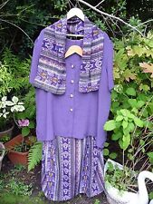 Purple Mustard Blue Black Skirt Suit Tunic Top Blouse + Scarf - Size 26 28 30 32