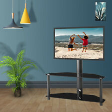 Swivel Floor TV Stand with Mount 2-Tier Glass Shelf for 32-55 inch LCD LED TVs