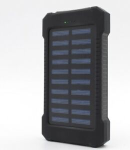 Solar Charger 10,000mAH Waterproof / Shockproof Dual-USB Charger  LED Light