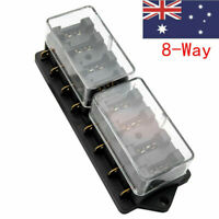 Universal 8 Way Circuit Automotive Blade Fuse Box Block Holder Car Boat Mar AU