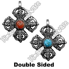 Silver Double Dorje Pendant .925 Sterling coral turquoise Tibet Nepal dorjee