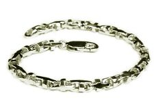 "14k Solid White Gold Anchor Mariner Bullet Link Chain Bracelet 4Mm 12 grams 6.5"""