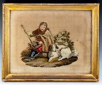 Antique Victorian Georgian Era Needlepoint Tapestry Gold Frame, Dog or Shepherd