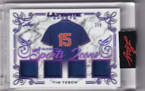 2021 LEAF ULTIMATE SPORTS ICONS QUAD GAME JERSEY NY METS - TIM TEBOW 7/9