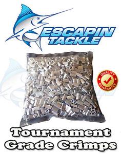 ALLOY Tournament Fishing Crimps. 100 x 1.0mm Mini Crimp. Suit mono leader.