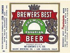 Brewer's Best, Maier Brewing, Los Angeles, California Vintage Paper Beer Label