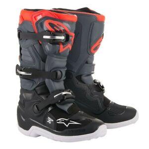Alpinestars Tech 7s Youth Motocross Boot -  Black/Grey/Red Kids All Sizes MX