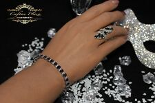 Tennis Armband Bracelet 925 Sterling Silber Weisstops Schwarze Saphire Topaz neu