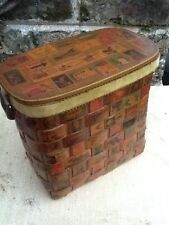 Vintage Wooden Box/Purse Stamps Latch Lid