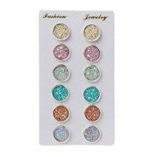 6 Pairs  Stainless Steel Shiny Austrian Crystal Round Stud Earrings Set Jewelry