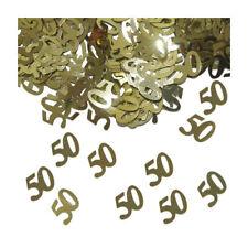 Konfetti 50 Metallic-Gold, 14 g Zahlenkonfetti Geburtstagsdeko Tischdekoration