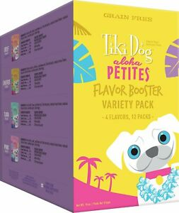Tiki Dog Aloha Petites Flavor Booster Bisque Variety12 Pack 4 Flavors Grain Free