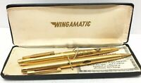 VINTAGE PEN & PENCIL SET by WINGAMATIC with Box (RETIRED UAW MEMBER)