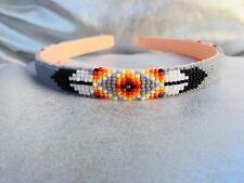 Native American Beaded Grey Headbands