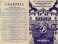 Ancienne Partition N°2 l'Auberge du Cheval Blanc 1930 tout bleu , tout bleu